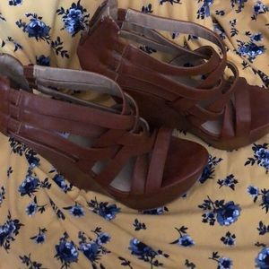 Brown Leather Steve Madden Wedges